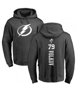 Tampa Bay Lightning 79 Alexander Volkov Charcoal One Color Backer Pullover Hoodie